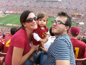 My family and I at a USC football game at the Los Angeles Coliseum