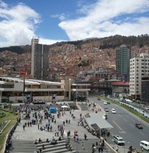 A view of downtown La Paz from the Planning Ministry taken during field research.